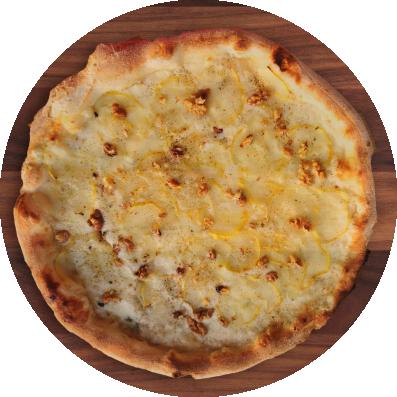 Fronte del volantino dove si vede la foto di una pizza con mozzarella filante, gorgonzola DOP, noci e pere