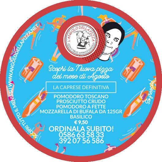 pizza di agosto, con pomodoro a fette, prosciutto cotto, burratina e basilico - L'Angolo della Pizza, Pizzeria Cecina Mare