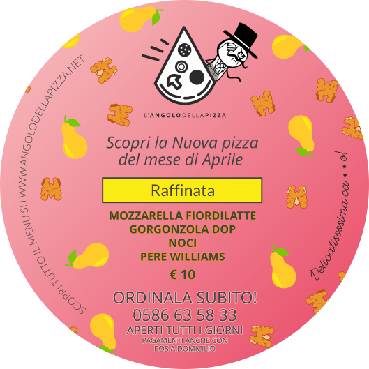 Retro del volantinio della pizza del mese di Aprile de L'Angolo della Pizza, dove sono indicati gli ingredienti ed il costo